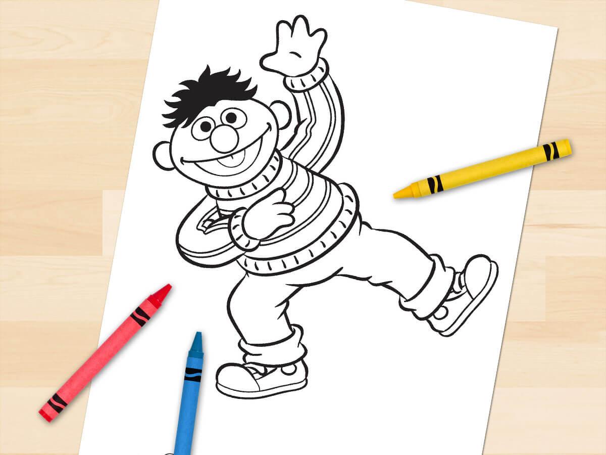 Ernie balancing on one leg