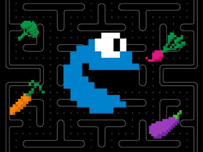Cookie Monster chasing vegetables