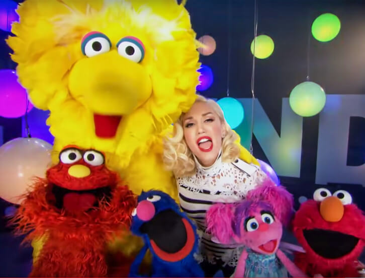 Maury, Big Bird, Grover, Abby, Elmo, and Gwen Stefani