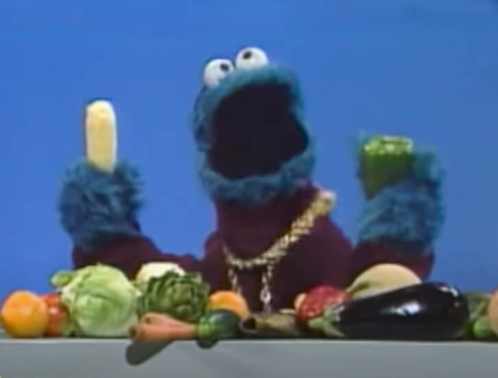Cookie Monster eating healthy foods