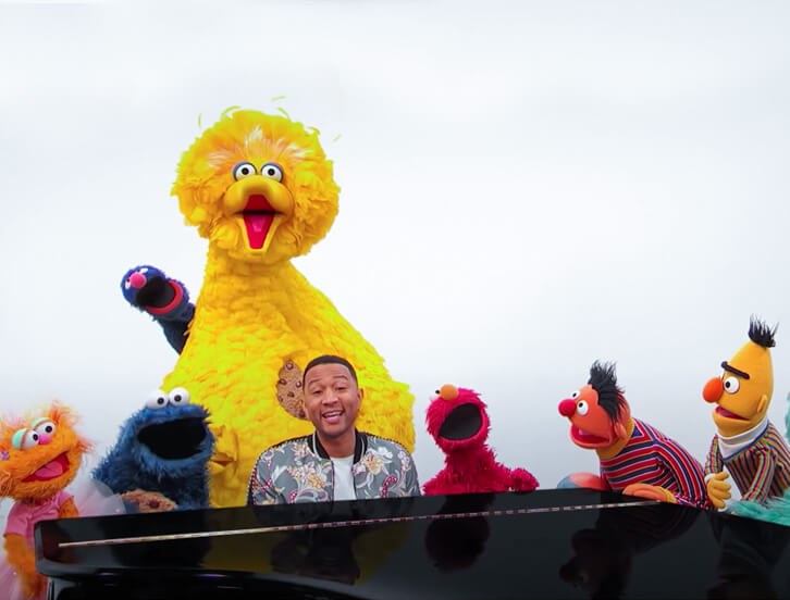Zoe, Cookie Monster, Big Bird, John Legend, Elmo, Ernie, Bert