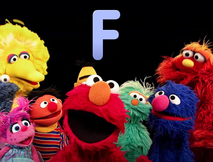 Big Bird, Abby, Ernie, Elmo, Rosita, Grover, Maury