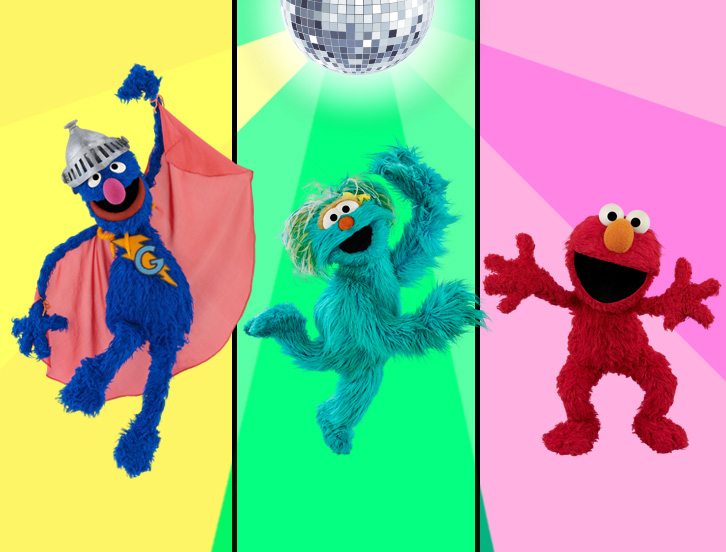 Super Grover, dancing Rosita, Elmo
